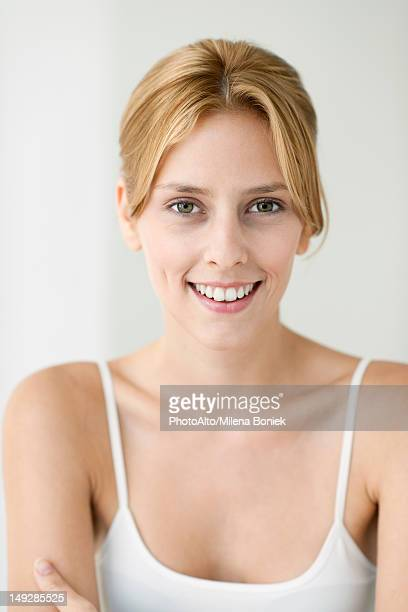 young woman in camisole, portrait - cami fotografías e imágenes de stock