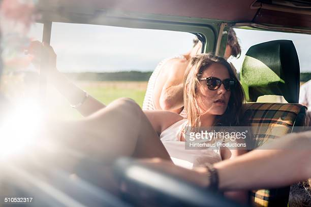 Young Woman In Camper Bus