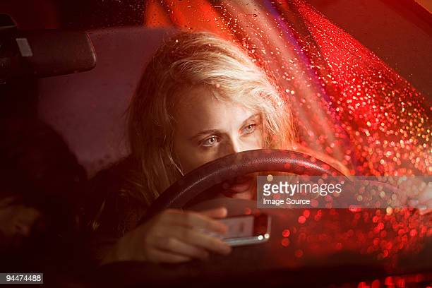 Young woman in car accident