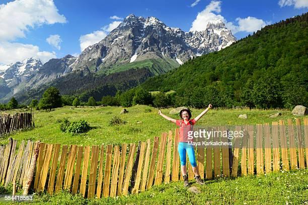 young woman in caucasus mountain - コーカサス山脈 ストックフォトと画像