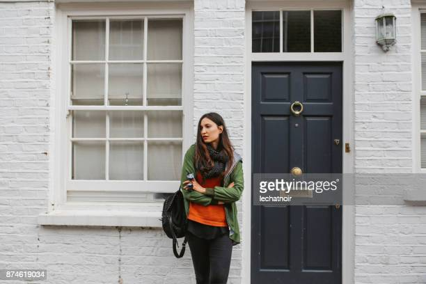 young woman in central london, notting hill district - west end london stock photos and pictures