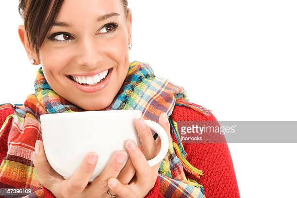 young woman in comfy sweater holding mug - brown eyes stock pictures, royalty-free photos & images