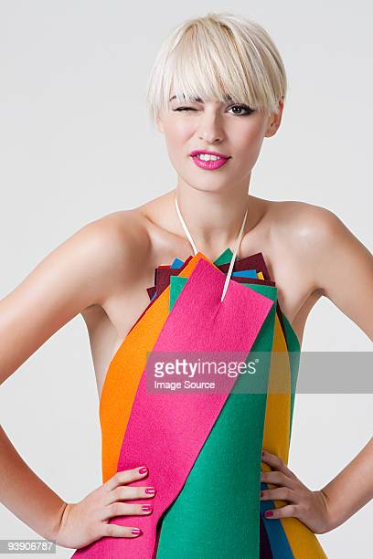 young woman in dress made of coloured ribbons - fringe stock pictures, royalty-free photos & images