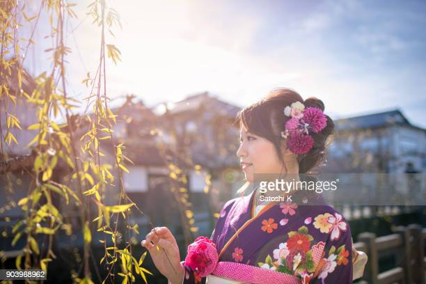 young woman in furisode kimono on coming of age day - seijin no hi stock pictures, royalty-free photos & images