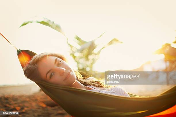 young woman in hammock - hot indian model stock pictures, royalty-free photos & images