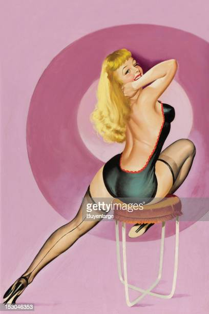 Young woman in high heels one piece suit sits alluringly on a chair coming out her beautiful blonde hair 1949 By Peter Driben