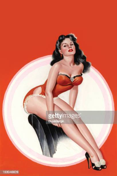 Young woman in high heels sits open the back of a chair with a huge circle image behind her her bathing suit is laced 1949 By Peter Driben