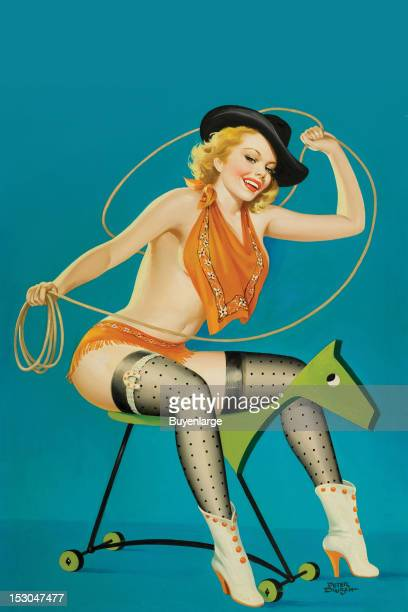 Young woman in high heels swings a lasso or lariat wearing a cowboy hat and riding a wooden horse a scarf covers her beasts 1952 By Peter Driben