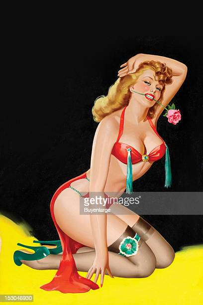 Young woman in high heels two piece suit she sits with her legs tucked under her tassel on her breasts a rose in her mouth as she pulls back her red...