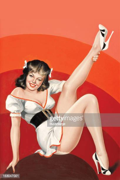 Young woman in high heels was a one piece dress but shows a little lace panty as she kicks one leg in the air late 1940s By Peter Driben