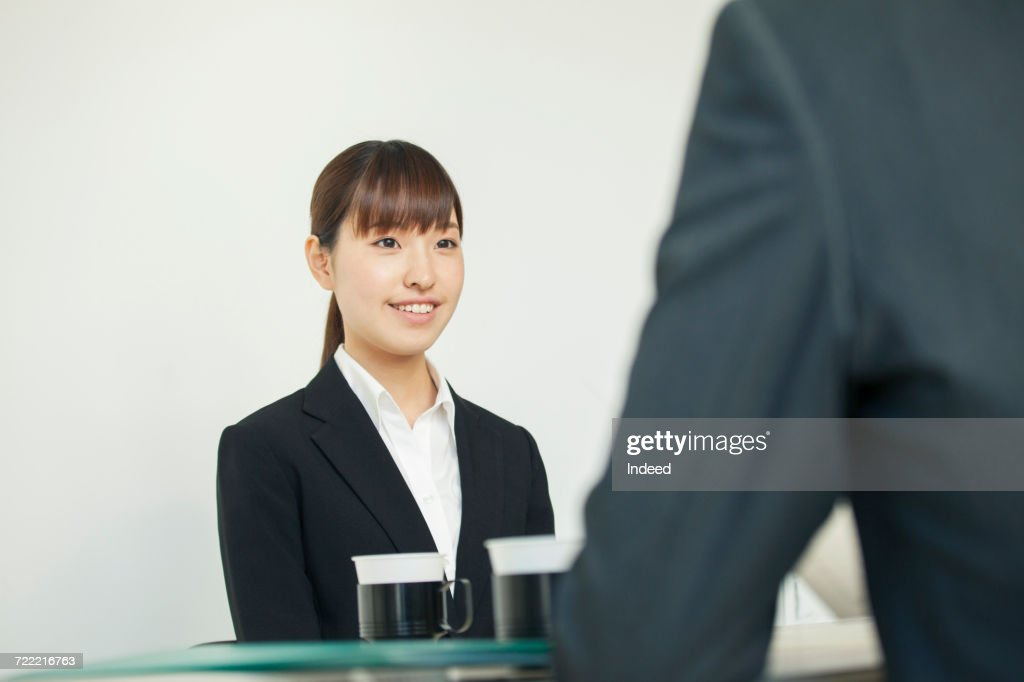 young woman in job interview ストックフォト getty images