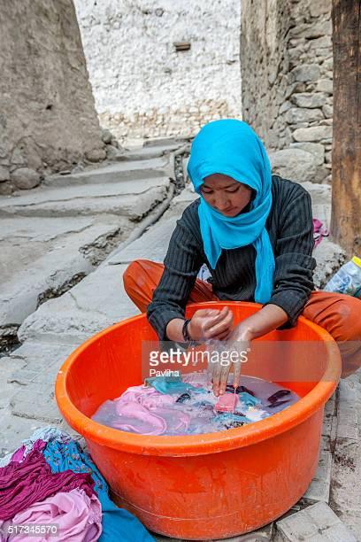 Young Woman in Leh Doing Laundry Leh, Ladakh,Tibet, India.
