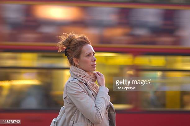 young woman in london street - depczyk stock pictures, royalty-free photos & images