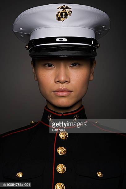 young woman in military uniform, close-up, portrait - us marine corps stock pictures, royalty-free photos & images