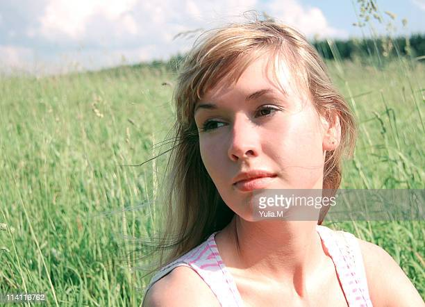 young woman in nautre, wind - nautre stock pictures, royalty-free photos & images
