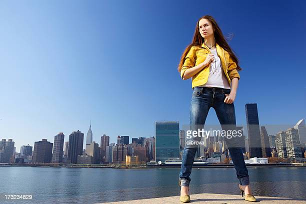 young woman in new york - legs spread woman stock photos and pictures