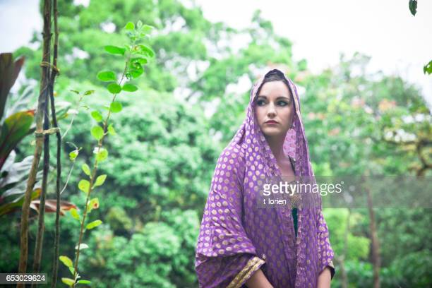 Young woman in park in India