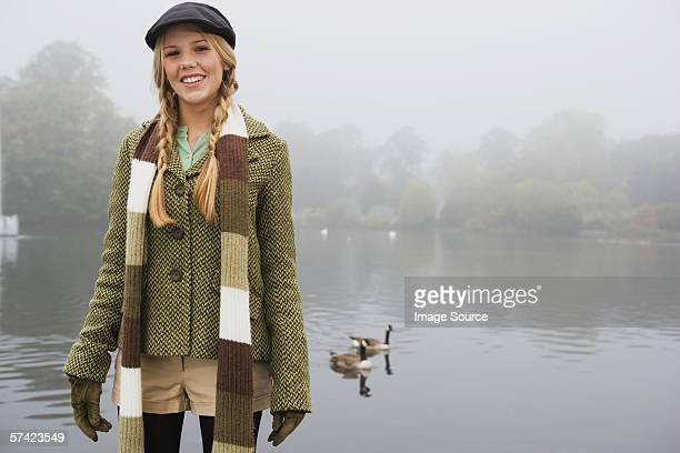 young woman in park - tweed stock pictures, royalty-free photos & images