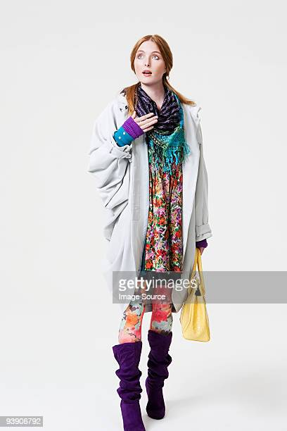 young woman in patterned clothes - white boot stock pictures, royalty-free photos & images