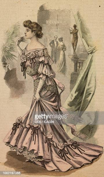 Young woman in pink crepe de Chine ball gown decorated with silk muslin roses creation by Mademoiselle Louise Piret engraving from La Mode Illustree...