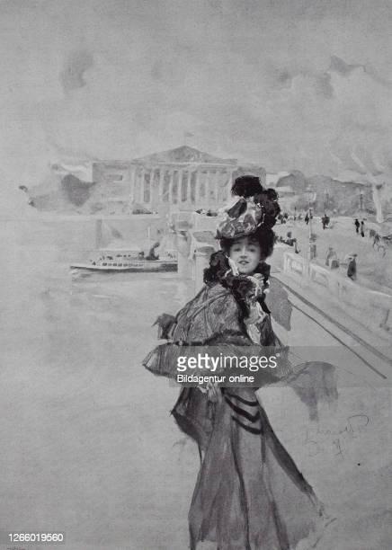 Young woman in posh clothes in Paris France original print from the year 1899 Junge Frau in der piekfeinen Kleidung in Paris Frankreich Reproduktion...