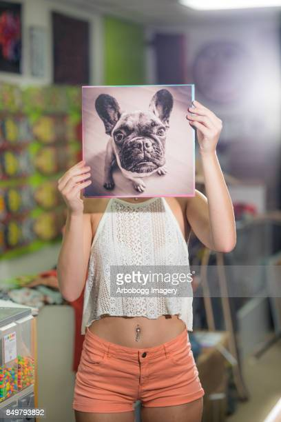 Young woman in record store