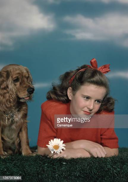 Young woman in red blouse and with red bow in hair lying in the grass staring down while her brown Cocker Spaniel sits with her.