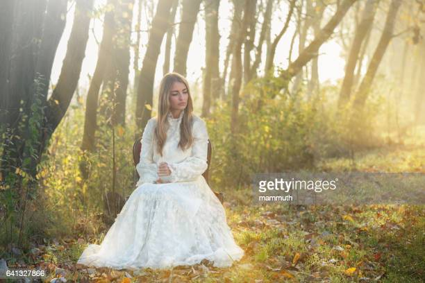 young woman in romantic clothes - elizabethan style stock photos and pictures