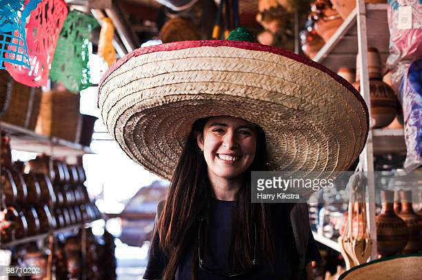 young woman in san sombrero - mexican hat stock pictures, royalty-free photos & images