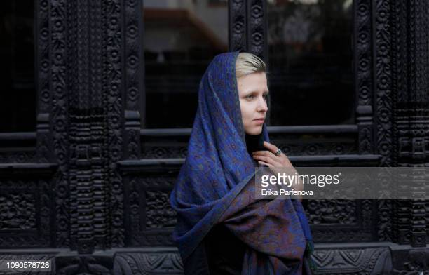 Young woman in scarf