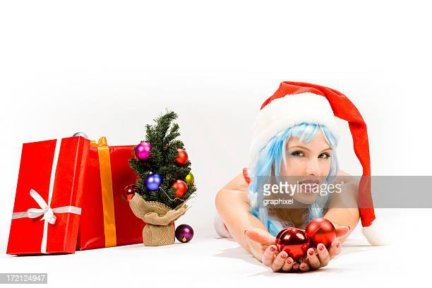 Young woman in sexy santa suit