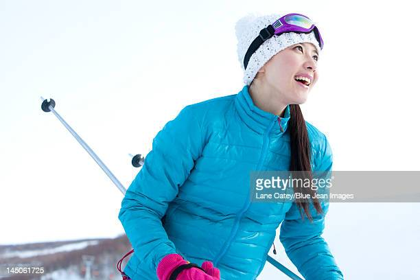 young woman in skiing resort - ski pants stock pictures, royalty-free photos & images