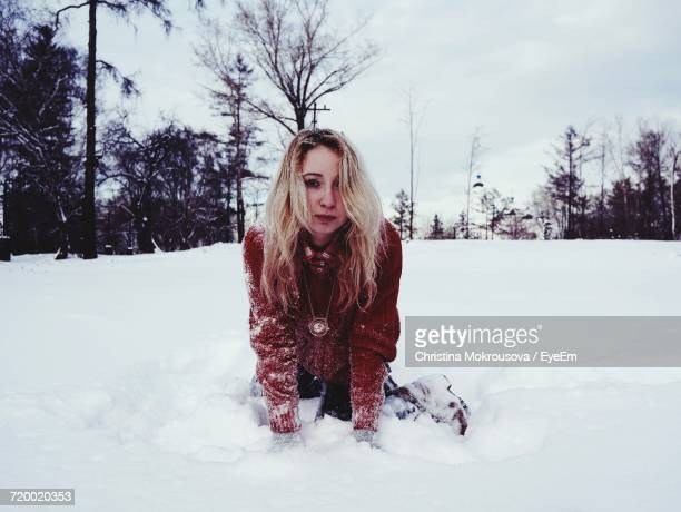 young woman in snow - christina model stock photos and pictures