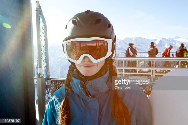 young woman in snowboard gear - ski goggles stock pictures, royalty-free photos & images