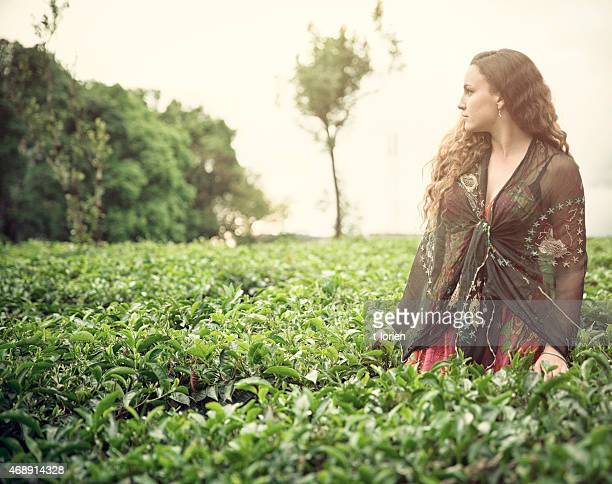 Young Woman in Tea Plantation - India