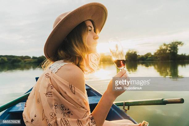 Young woman in the boat