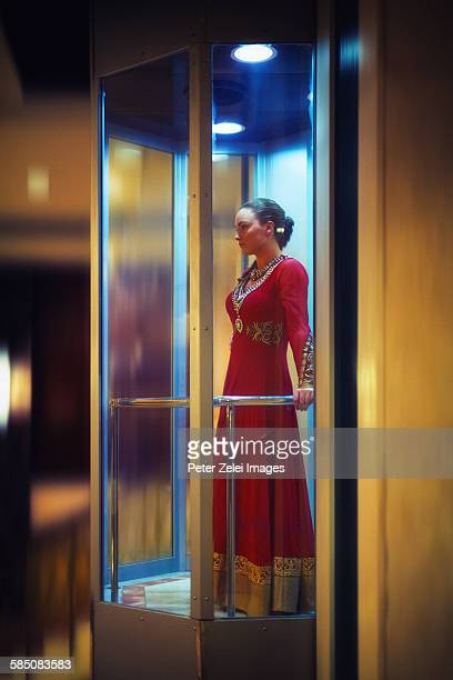 Young woman in the elevator