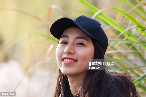 a young woman in the natural environment,china - east asia, - china east asia foto e immagini stock