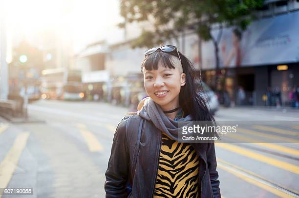 young woman in the street - fashion hong kong stock photos and pictures