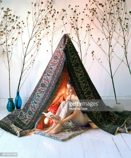 Young woman in tipi