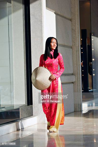 Young woman in traditional Ao dai