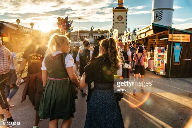 young woman in traditional clothe at Oktoberfest in Munich