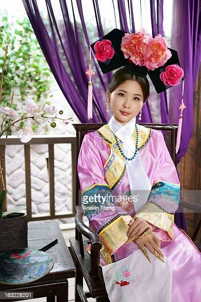 young woman in traditional clothes - vestido tradicional fotografías e imágenes de stock