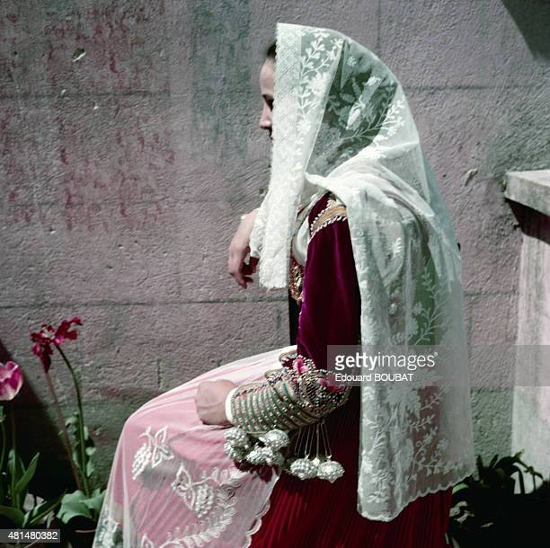 Young woman in traditional costume in July 1955 in Sardinia Italy