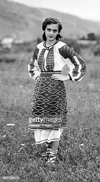 Young woman in traditional dress Bistrita Valley Moldavia northeast Romania c1920c1945 Depicting customs and traditional labour in the rural...