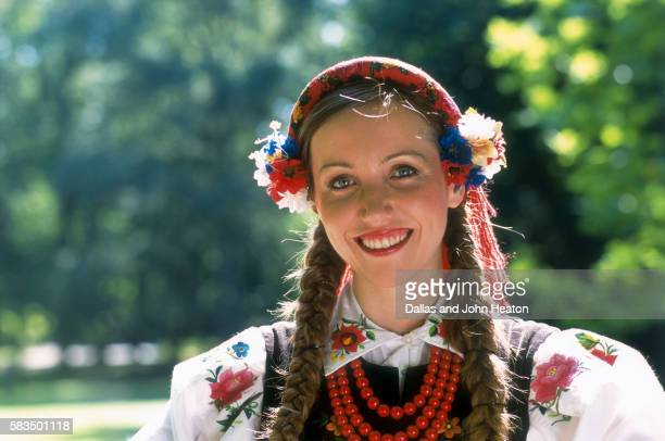 young woman in traditional dress of poland - poland stock pictures, royalty-free photos & images