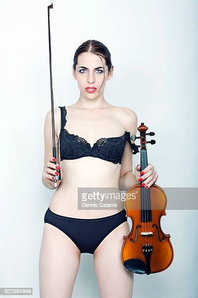 Young woman in Underwear with Violin