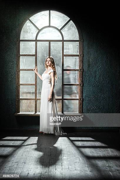 young woman in waiting - evening gown stock pictures, royalty-free photos & images