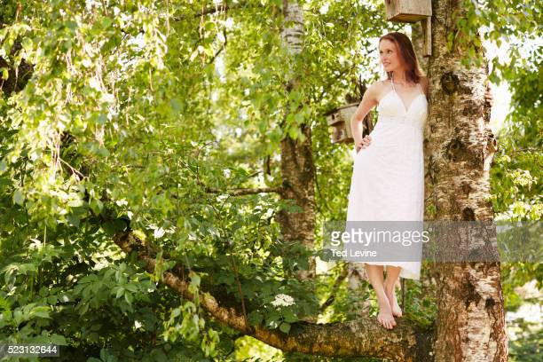 young woman in white dress standing on tree, bavaria, germany - 白のドレス ストックフォトと画像