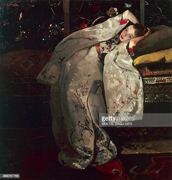 Young woman in white kimono painting by George Hendrik Breitner